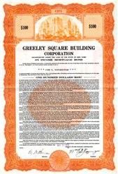 Pack of 100 Certificates - Greeley Square Building Corporation - Price includes shipping costs to U.S.