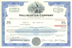 Pack of 100 Certificates - Halliburton Company - Price includes shipping costs to U.S.