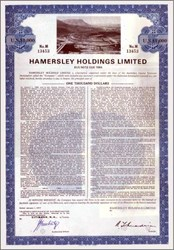 Pack of 100 Certificates - Hammersley Holdings Limited Australia- Price includes shipping costs to U.S.