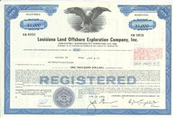 Pack of 100 Certificates - Louisiana Land Offshore Exploration Company, Inc. - Price includes shipping costs to U.S.