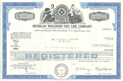Pack of 100 Certificates - Michigan Wisconsin Pipe Line Company - Price includes shipping costs to U.S.