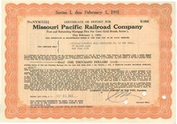 Pack of 100 Certificates - Missouri Pacific Railroad Company - Price includes shipping costs to U.S.