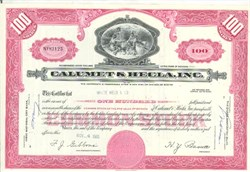 Pack of 100 Certificates - Calumet and Hecla, Inc. - Price includes shipping costs to U.S.