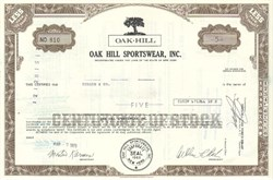 Pack of 100 Certificates - Oak Hill Sportswear, Inc. (Now REXX Environmental Corporation)- Price includes shipping costs to U.S.
