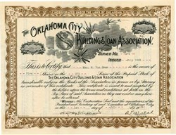 Pack of 100 Certificates - The Oklahoma City Building and Loan Association - 1930's - Price includes shipping costs to U.S.