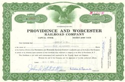 Pack of 100 Certificates - Providence and Worcester Railroad Company - Price includes shipping costs to U.S.