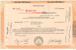 Pack of 100 Certificates - Rocket Jet Engineering Corp. - Price includes shipping costs to U.S.