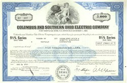 Pack of 100 Certificates - Columbus and Southern Ohio Electric Company - Price includes shipping costs to U.S.