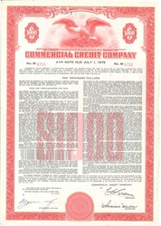 Pack of 100 Note Certificates - Commercial Credit Company (Became Citigroup) - Price includes shipping costs to U.S.