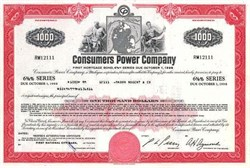 Pack of 100 Certificates - Consumers Power Company - Price includes shipping costs to U.S.
