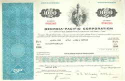 Pack of 100 Certificates - Georgia-Pacific Corporation (Statue of Liberty Vignette) - Price includes shipping costs to U.S.
