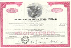 Pack of 100 Certificates - Washington Water Power Company - Price includes shipping costs to U.S.
