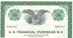 Pack of 100 Certificates - U.S. Financial Overseas N.V, - Price includes shipping costs to U.S.