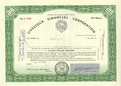 Pack of 100 Certificates - Livestock Financial Corporation Stock Certificate, New York - Price includes shipping costs to U.S.