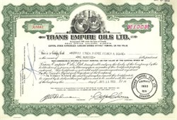 Pack of 100 Certificates - Trans Empire Oils Ltd. - Price includes shipping costs to U.S.
