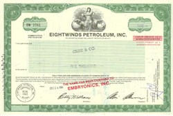Pack of 100 Certificates - Eightwinds Petroleum, Inc. - Price includes shipping costs to U.S.