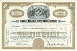 Pack of 100 Certificates - Erie Railroad Company - Price includes shipping costs to U.S.