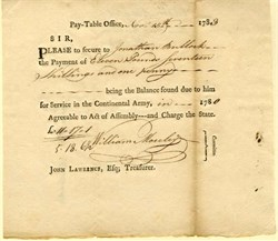 Pay-Table Office document for service in the Continental Army - 1783
