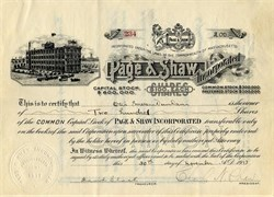 Page & Shaw Incorporated signed by Otis Emerson Dunham and Charles Shaw - Massachusetts 1918