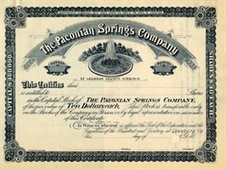 Paeonian Springs Company of Loudoun County, Virginia  (RARE Specimen ) - Leesburg,  Virginia  18__