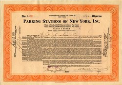 Parking Stations of New York, Inc. - 1929