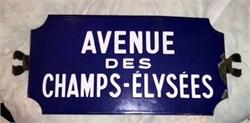 """Original Early 1900's Porcelain Paris Street Sign, """"Avenue Des Champs-Elysees"""", 10""""x23"""""""