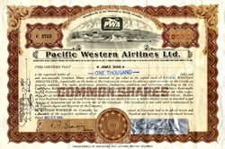 Pacific Western Airlines, Ltd. (Became Canadian Airlines International)  - British Columbia, Canada - 1964