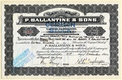 Ballantine & Sons (Famous Beer Company) Issued Pre Prohibition - Newark, New Jersey 1922