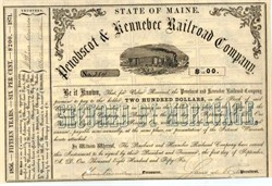 Penobscot and Kennebec Railroad Company - Maine 1856