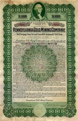 Pennsylvania Gold Mining Company Convertible Gold Bond - Delaware 1912
