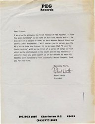 Peg Records Letter signed by Robert Hutto - South Carolina 1985