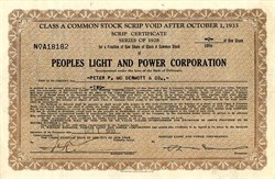 Peoples Light and Power Corporation - Delaware 1930