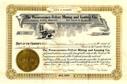 Perseverance-Velvet Mining and Leasing Co. - Manhattan District, Nevada- 1907