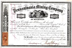 Pennsylvania Mining Company - Keweenaw County,  Michigan 1866