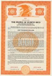 People of Puerto Rico Public Improvement Bond - Puerto Rico 1952