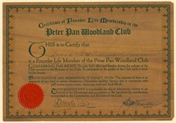 Peter Pan Woodland Club - Certificate of Founder Life Membership Certificate - Big, Bear, California