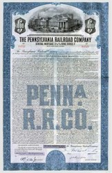 Pack of 100 Certificates - Pennsylvania Railroad  Company 3 1/8% Gold Bond - 1945 - Price includes shipping cost in U.S.