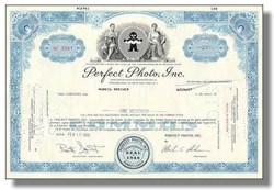Perfect Photo Inc Stock Certificate