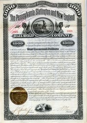 Pennsylvania, Slatington and New England Railroad Company First Mortgage Bond - Pennsylvania and New Jersey 1883