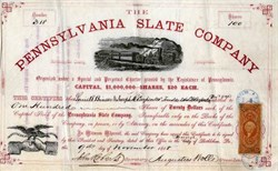 Pennsylvania Slate Company signed by Augustus Wolle (Founder of  Bethlehem Steel)  - Borough of Bethlehem, Pennsylvania - 1868