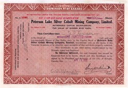 Peterson Lake Silver Cobalt Mining Company 1915
