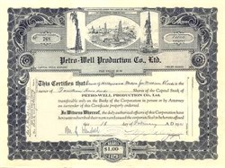 Petro-Well Production Company - California - Issued to Bank of Hollywood 1931
