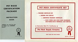 Pet Rock Certificate Set (4 certificates) and Instruction Book - 1976