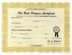 Pet Rock Supply Company - Original Pet Rock Certificate