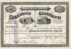 Phillip Best Brewing Company (Became Pabst Brewing Company ) - Signed by Fred Pabst as President - Milwaukee, Wisconsin - 1874