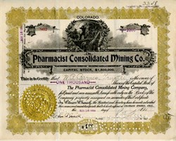 Pharmacist Consolidated Mining Company - Cripple Creek District, Teller County, Colorado - 1899