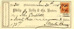 Phillip F. Kelly & Co. Bankers (Old IRS Tax Stamp Attached)  - Philadelphia, Pennsylvania 1865