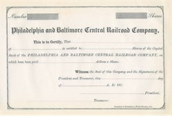 Philadelphia and Baltimore Central Railroad Company 1850's