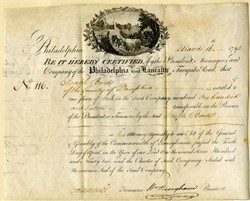 Philadelphia and Lancaster Turnpike Road Company (First Toll Road in U.S.) signed by William Bingham (Founded the Bank of America in 1781) -  1795