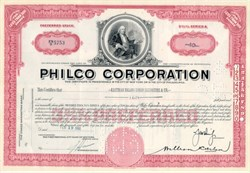Philco Radio Corporation Stock Certificate